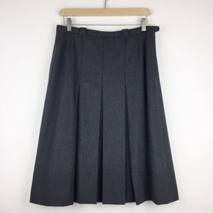 Vintage Aquascutum pleated wool midi skirt grey